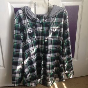 Green Plaid Light Jacket Women's XL
